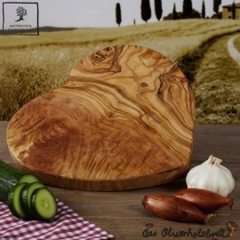 olive wood board heart shaped
