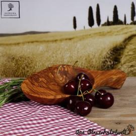 Schale oval mit Griff, Olivenholz