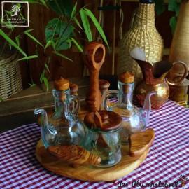 Öl und Essig Menage mit Salz -und Pfefferstreuer