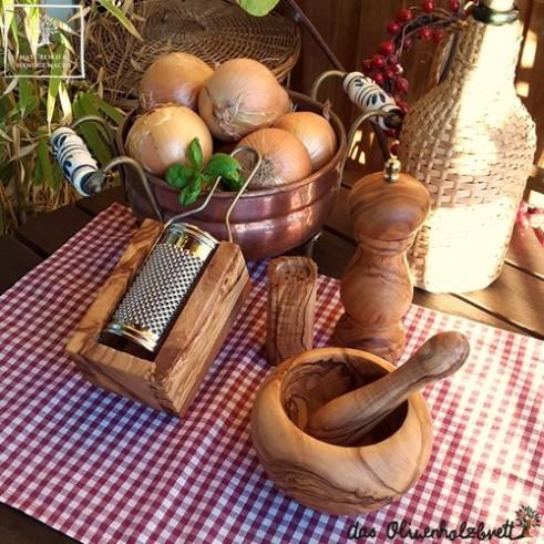 Pesto Set aus Olivenholz