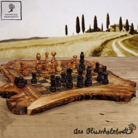 olive wood chess board flat