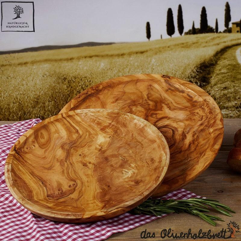 Holzteller Olivenholz, Holz, klassischer Holzteller handgemacht, rund,