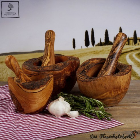 mortar and pestle rustic style