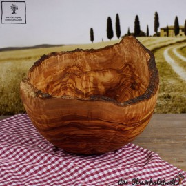olive wood salad bowl with a natural edge