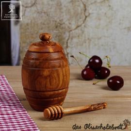 Honigtopf incl. Honiglöffel aus Olivenholz