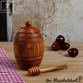 Honey pot with beautiful olive wood