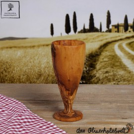 champagne flute out of olive wood