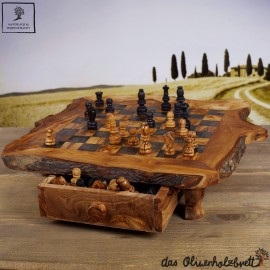 olive wood chess board with drawer