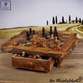 Schachspiel mit Schublade incl. Figuren Rustikal