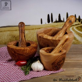 Mörser und Stößel aus Olivenholz, handgefertigt, glatter Rand