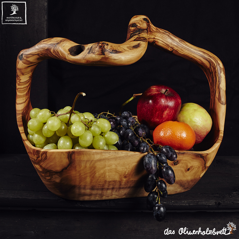 big olive wood basket bowl with fresh fruits as a wedding gift